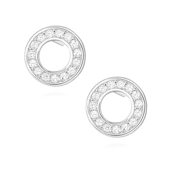 Srebrne okrągłe kolczyki z cyrkoniami pr.925