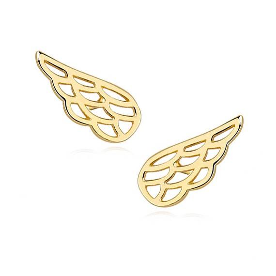 Srebrne (925) kolczyki skrzydła pozłacane