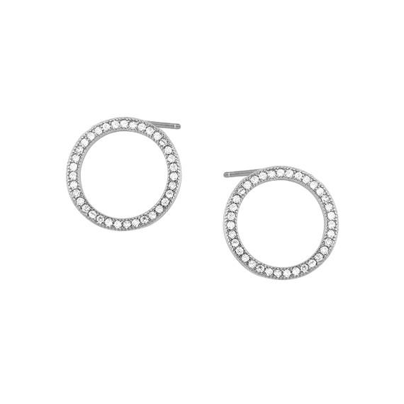 Srebrne kolczyki okręgi z cyrkoniami pr.925