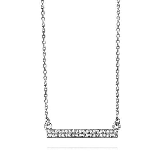 Srebrny naszyjnik prostokątna zawieszka z cyrkoniami  pr.925