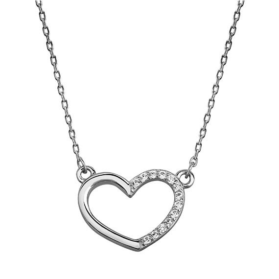 Srebrny naszyjnik serce z cyrkoniami  pr.925