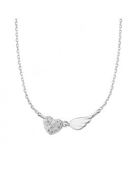 Srebrny naszyjnik serce z cyrkoniami i skrzydło  pr.925