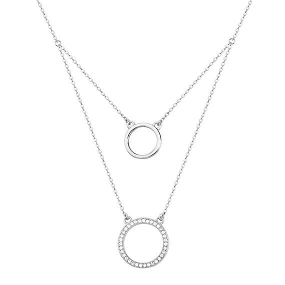 Srebrny naszyjnik okręgi z cyrkoniami  pr.925