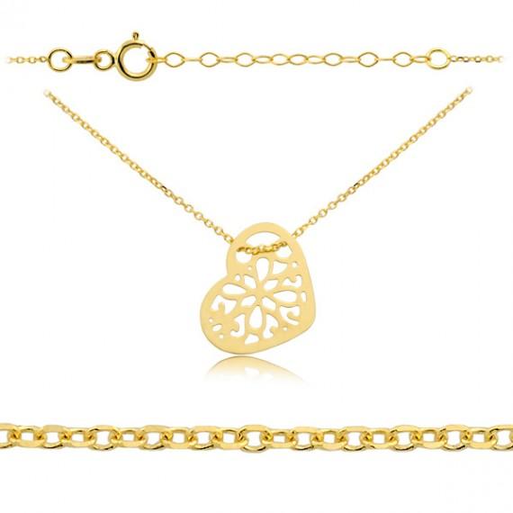 Złoty naszyjnik celebrytka - ażurowe serce