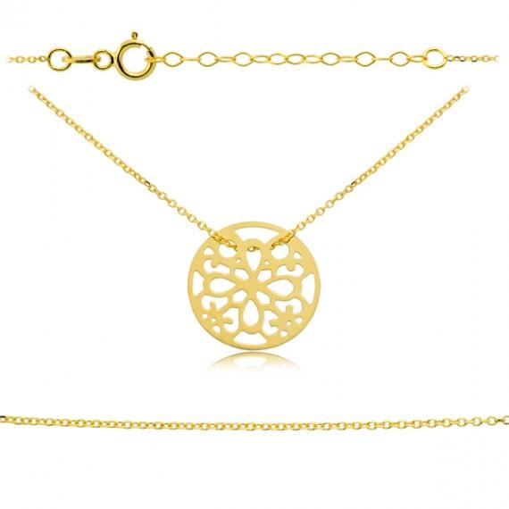 Złoty naszyjnik celebrytka - ażurowy okrąg