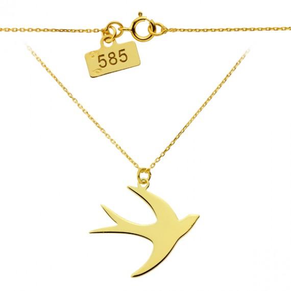 Złoty naszyjnik celebrytka - jaskółka