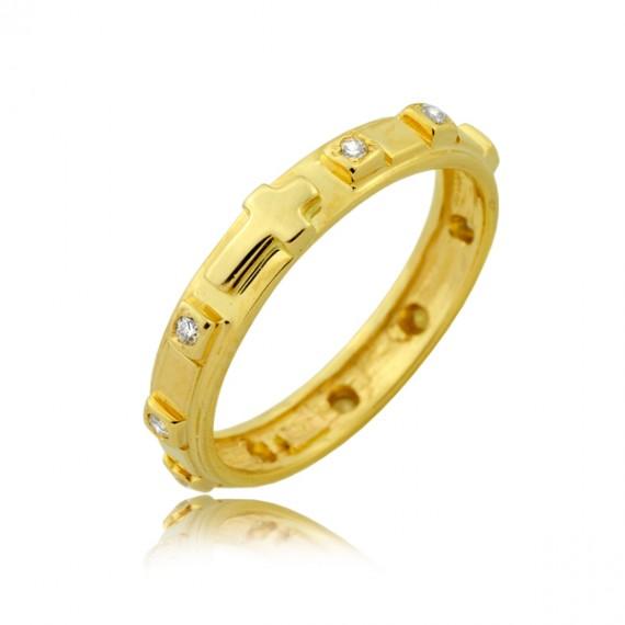 Złoty pierścionek różaniec
