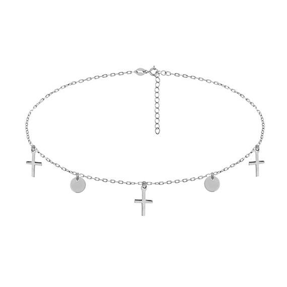 Srebrny naszyjnik pr. 925 choker z kółeczkami i krzyżykami