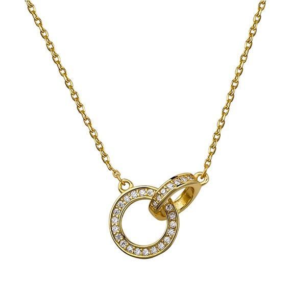 Srebrny naszyjnik kółeczka z cyrkonią - złocony pr.925