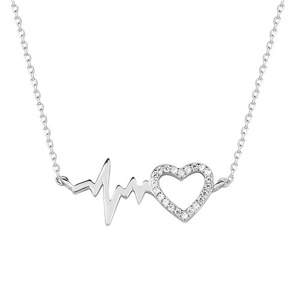 Srebrny naszyjnik zawieszka puls i serce z cyrkoniami pr.925