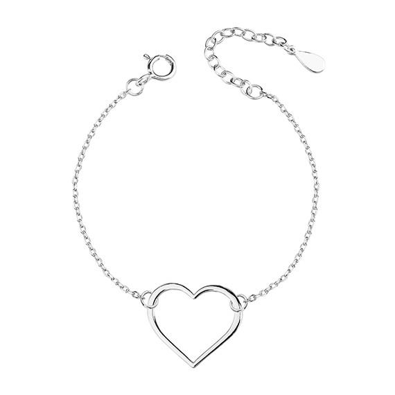 Srebrna bransoletka serce pr.925