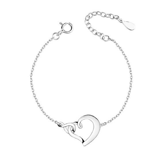 Srebrna pr.925 bransoletka serce i znak nieskończoności