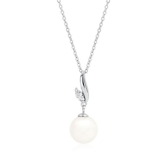 Srebrny naszyjnik pr.925 perła z cyrkoniami