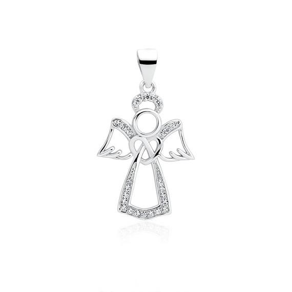 Srebrna zawieszka pr.925 anioł z cyrkoniami