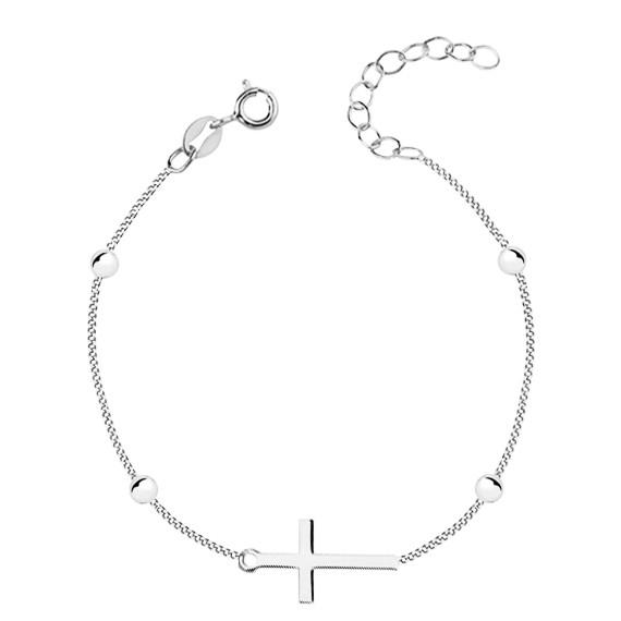 Srebrna bransoletka pr. 925  z Krzyżykiem i kuleczkami