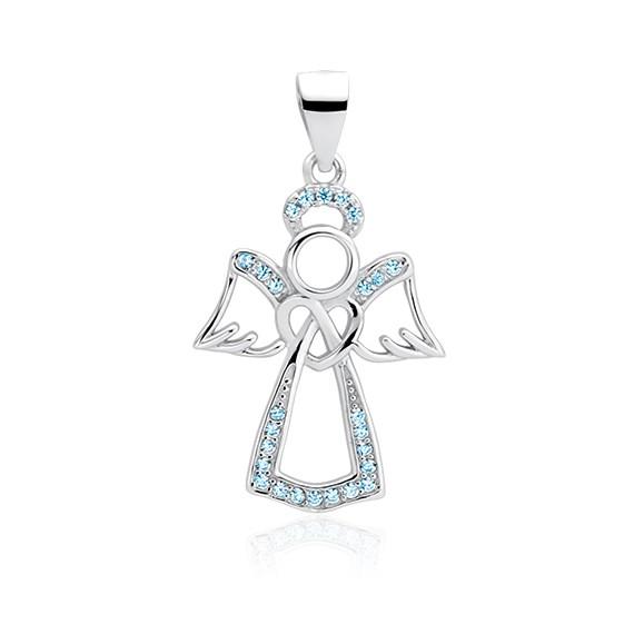Srebrna zawieszka pr.925 anioł z akwamarynowymi cyrkoniami