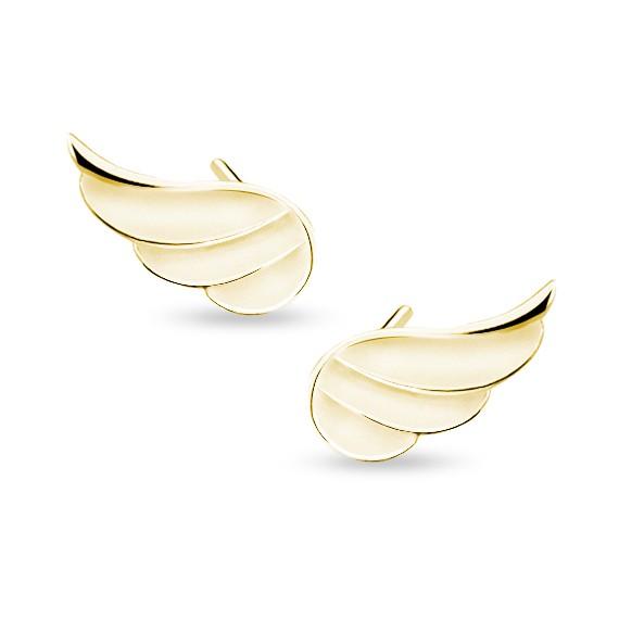Srebrne (925) kolczyki pozłacane skrzydła