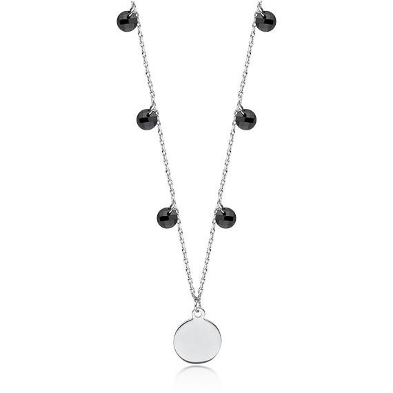 Srebrny naszyjnik pr.925 choker z kółeczkiem i czarnymi cyrkoniami / spinelami