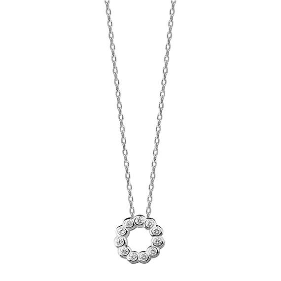 Srebrny naszyjnik z okrągłą zawieszką i cyrkoniami  pr.925
