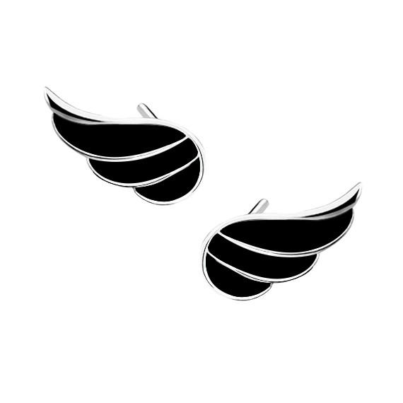Srebrne kolczyki - skrzydła z czarną emalią pr. 925