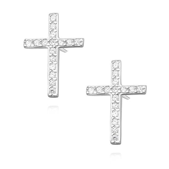 Srebrne pr.925 kolczyki krzyżyki z cyrkoniami