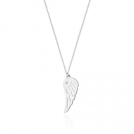 Naszyjnik z białego złota - skrzydełko z brylantem