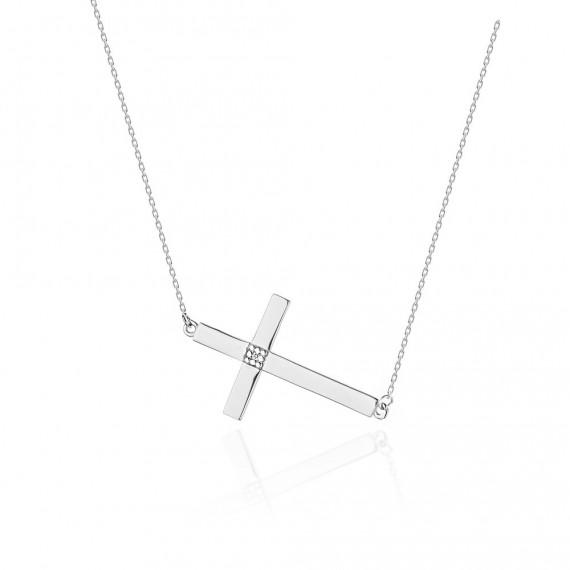Naszyjnik z białego złota - krzyżyk z brylantami