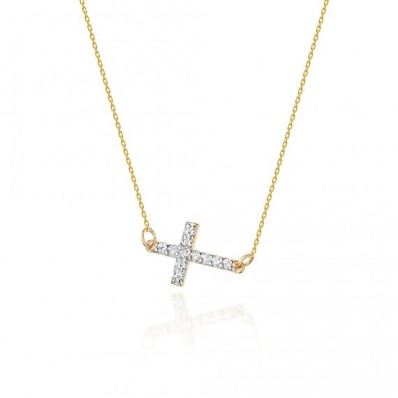 Złoty naszyjnik - krzyżyk z brylantami