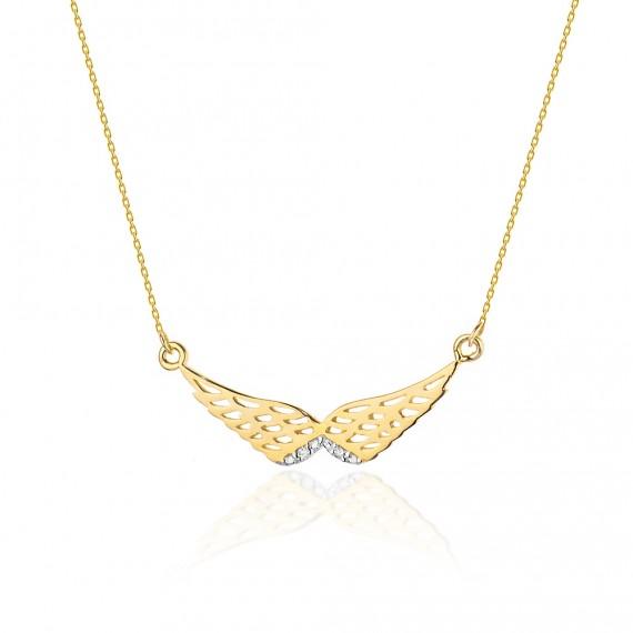 Złoty naszyjnik - skrzydła z brylantami