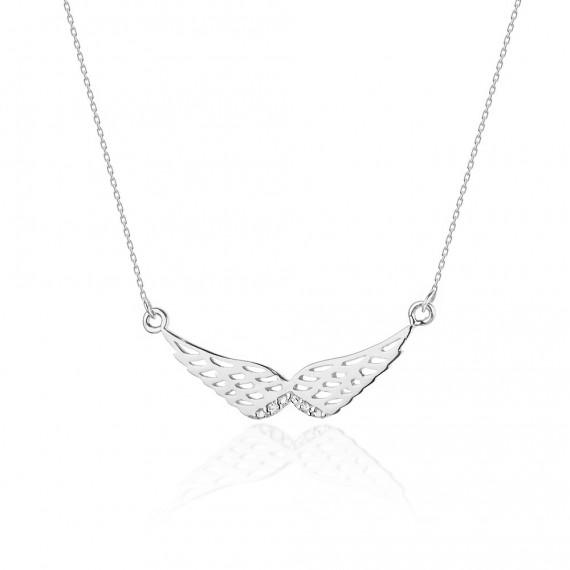 Naszyjnik z białego złota - skrzydła z brylantami