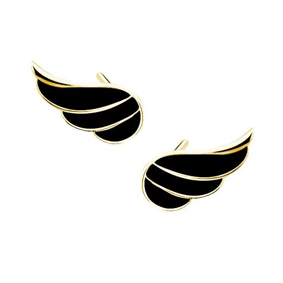 Srebrne kolczyki - skrzydła z czarną emalią pr. 925 pozłacane