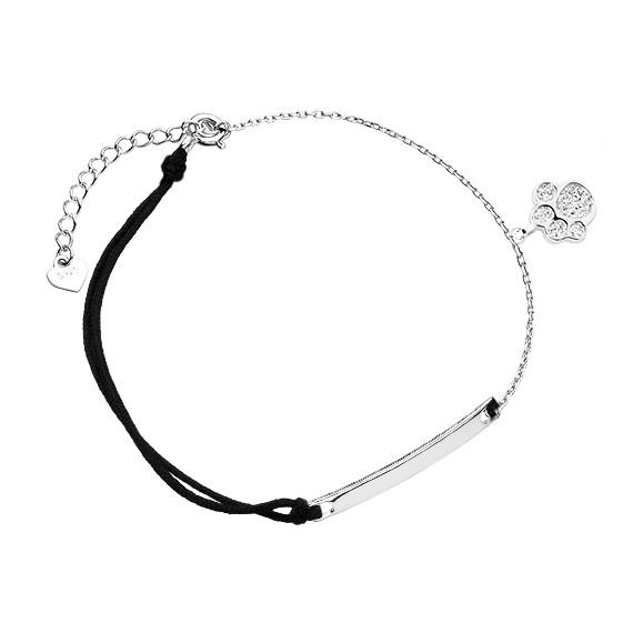 Srebrna pr.925 bransoletka sznurkowa łapka pies/kot