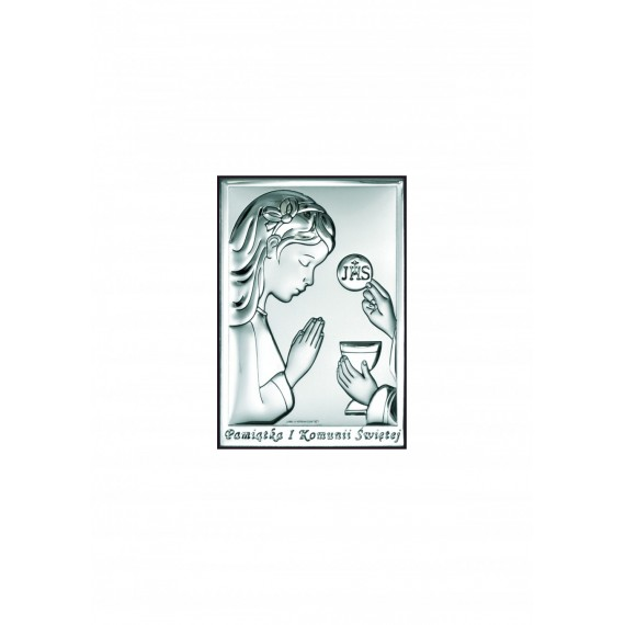 OBRAZEK SREBRNY PAMIĄTKA PIERWSZEJ KOMUNII ŚWIĘTEJ 6491/2XA
