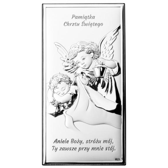 OBRAZEK SREBRNY ANIOŁEK Z LATARENKĄ NAD DZIECIĄTKIEM DS01/1