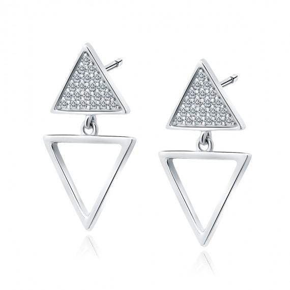 Srebrne kolczyki pr.925 trójkąty z białymi cyrkoniami