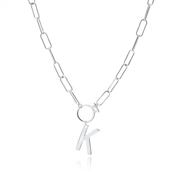 Srebrny naszyjnik pr.925 literka K na łańcuszku z kółkiem