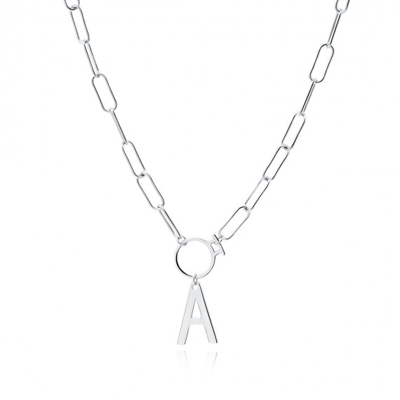 Srebrny naszyjnik pr.925 literka A na łańcuszku z kółkiem