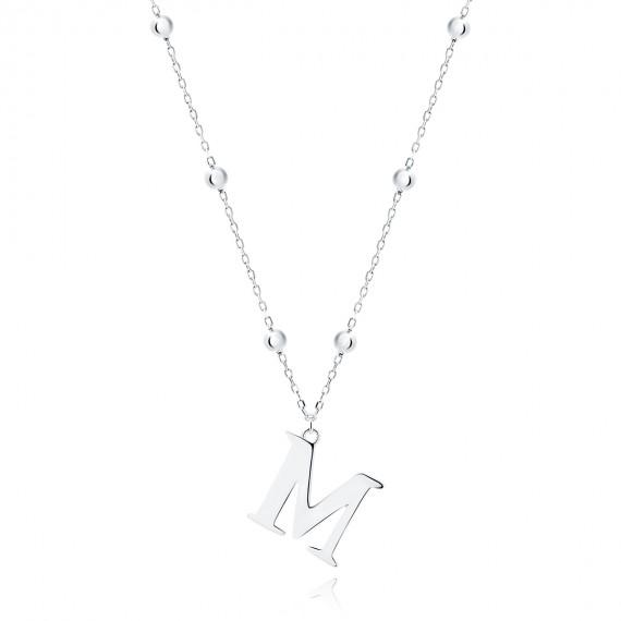 Srebrny naszyjnik pr.925 literka M na łańcuszku z kuleczkami