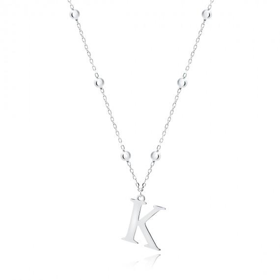 Srebrny naszyjnik pr.925 literka K na łańcuszku z kuleczkami
