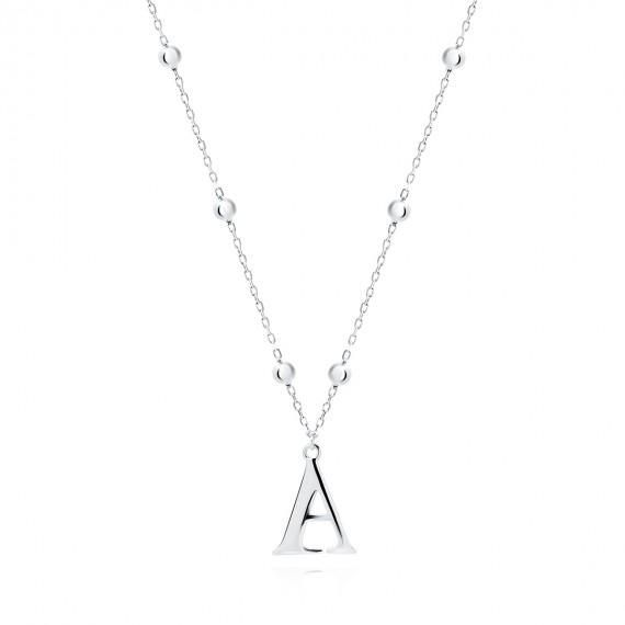 Srebrny naszyjnik pr.925 literka A na łańcuszku z kuleczkami