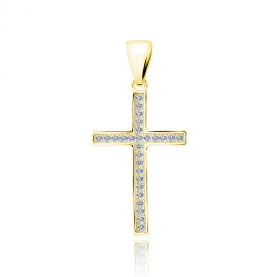 Srebrna pozłacana zawieszka pr.925 krzyż z cyrkoniami