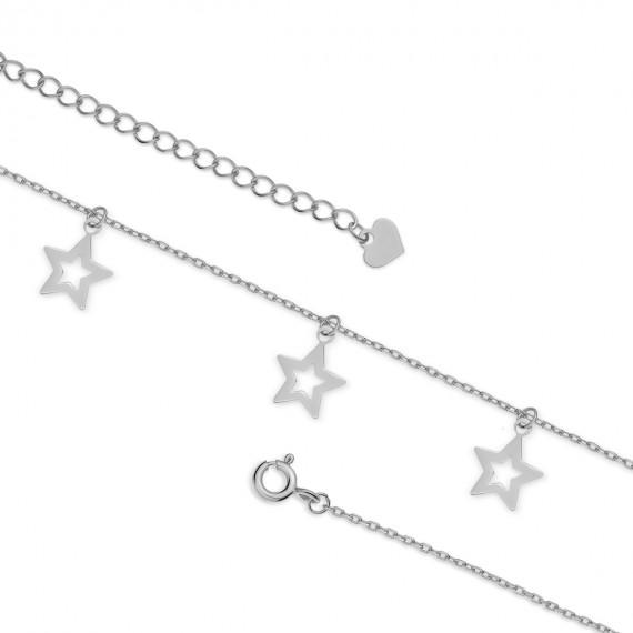 Srebrna bransoletka na nogę pr.925 z gwiazdkami