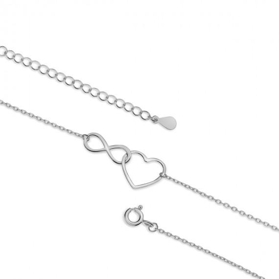 Srebrna bransoletka na nogę pr.925 z nieskończonością i sercem